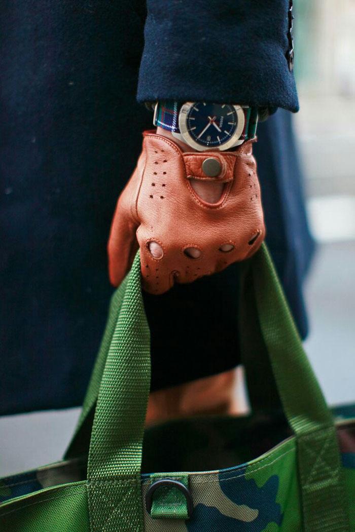 Driving Gloves, Plaid Fossil & Camo Bag menswear