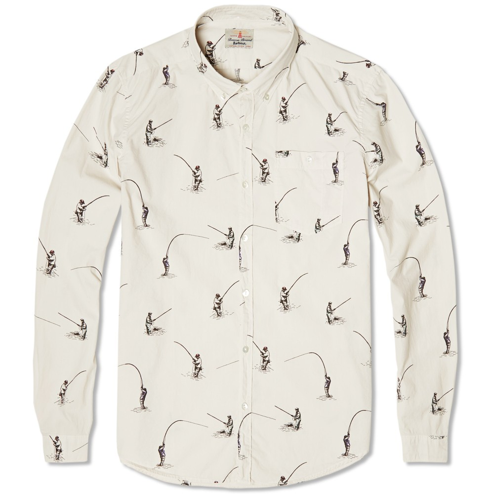 Fisherman Print Shirt Barbour Heritage neutral