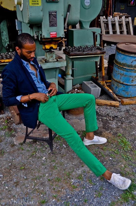 Gang Green Chino navy blazer blue denim shirt sitting