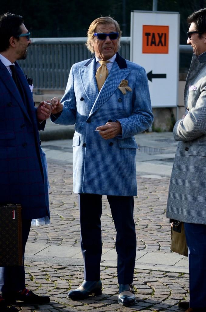 Lino Telling Jokes blue checkered coat