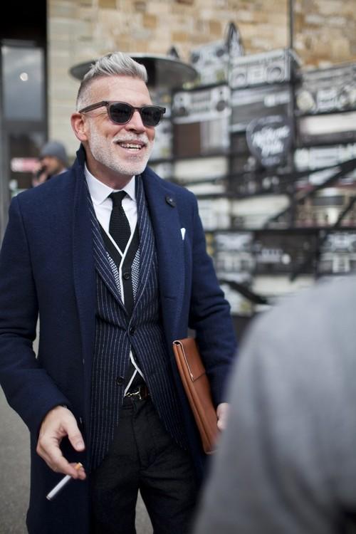 Nick Wooster Pinstripe × Knit Tie street fashion