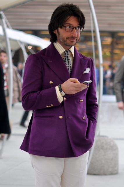 Nicola Ricci Purple Blazer peak lapel