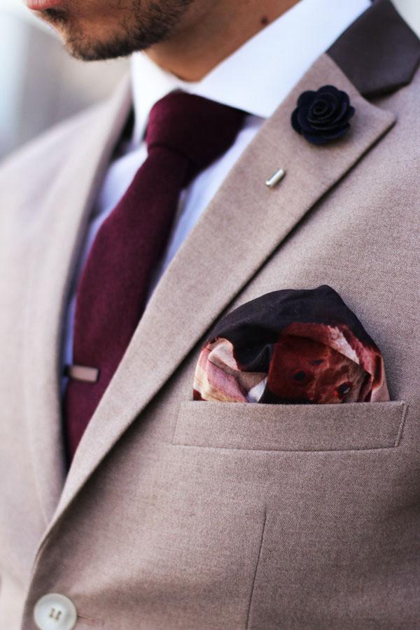 Shades of Grey & Red magenta tie, deep navy lapel flower