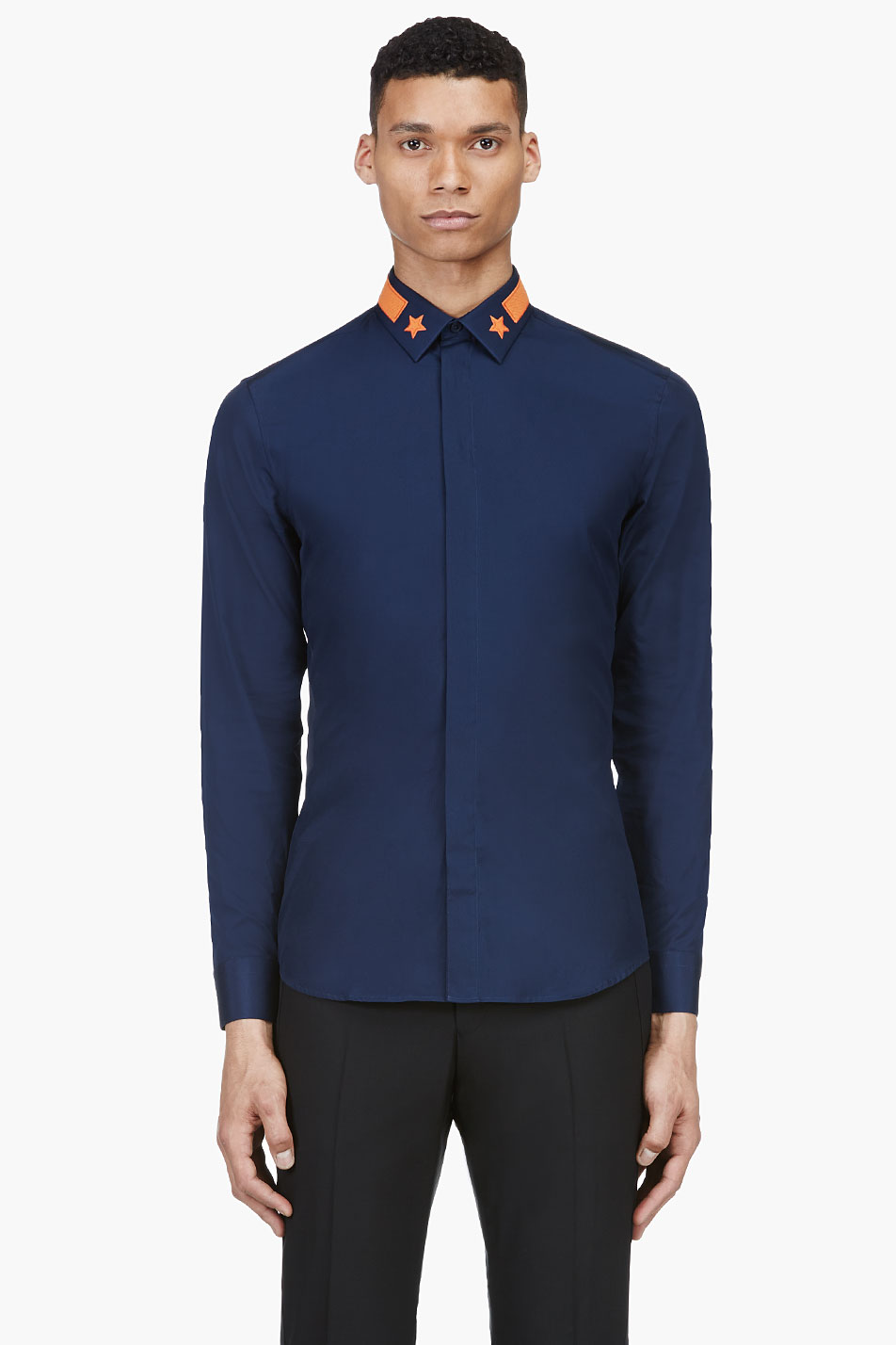 Star Appliqué Collar navy dress shirt menswear 1