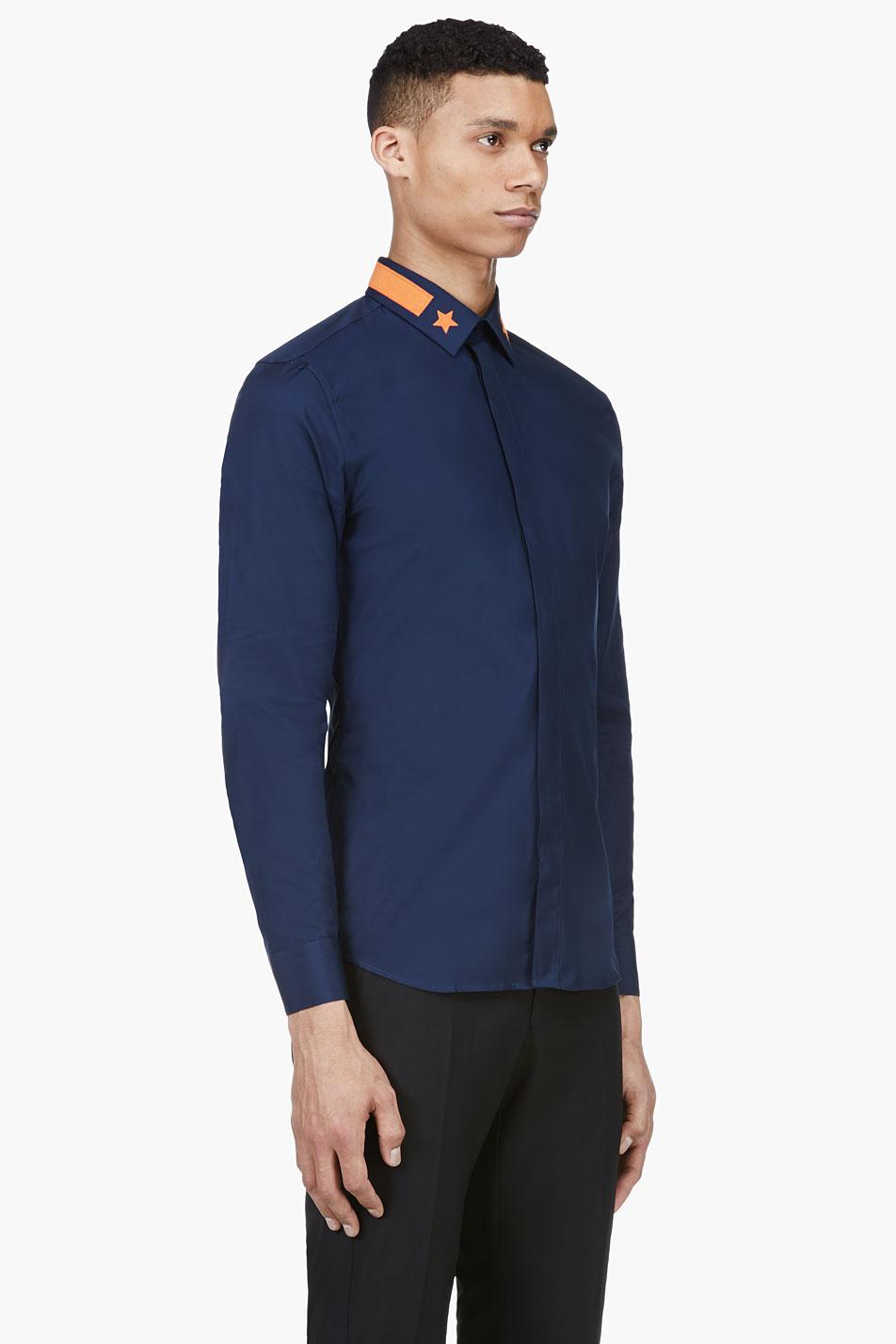 Star Appliqué Collar navy dress shirt menswear 2