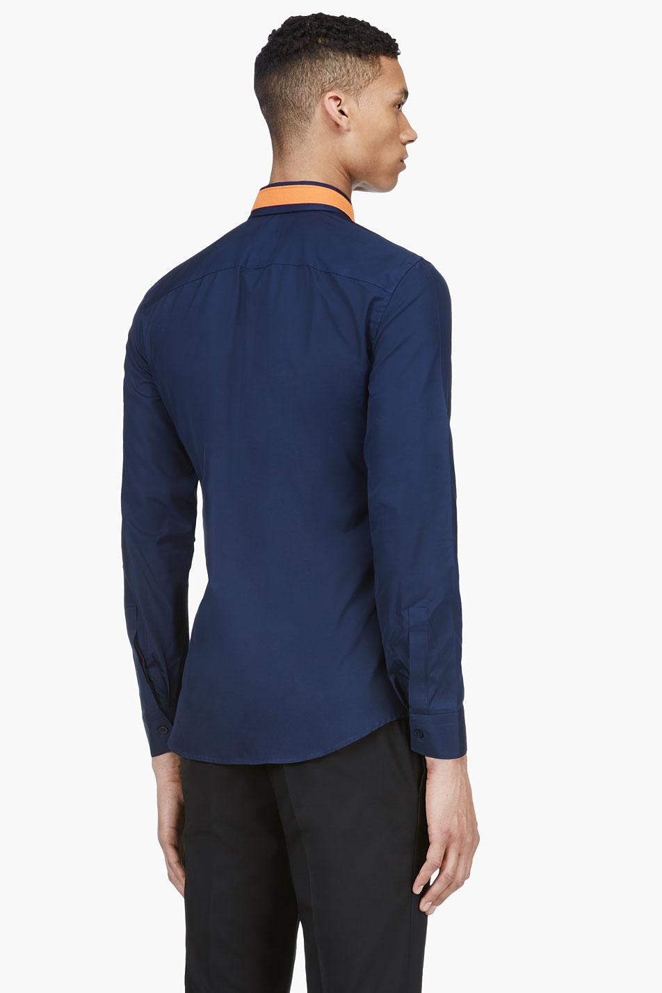 Star Appliqué Collar navy dress shirt menswear 3