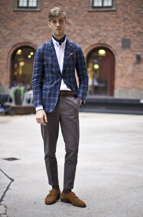 Unstructured Plaid Jacket suede monks streetstyle