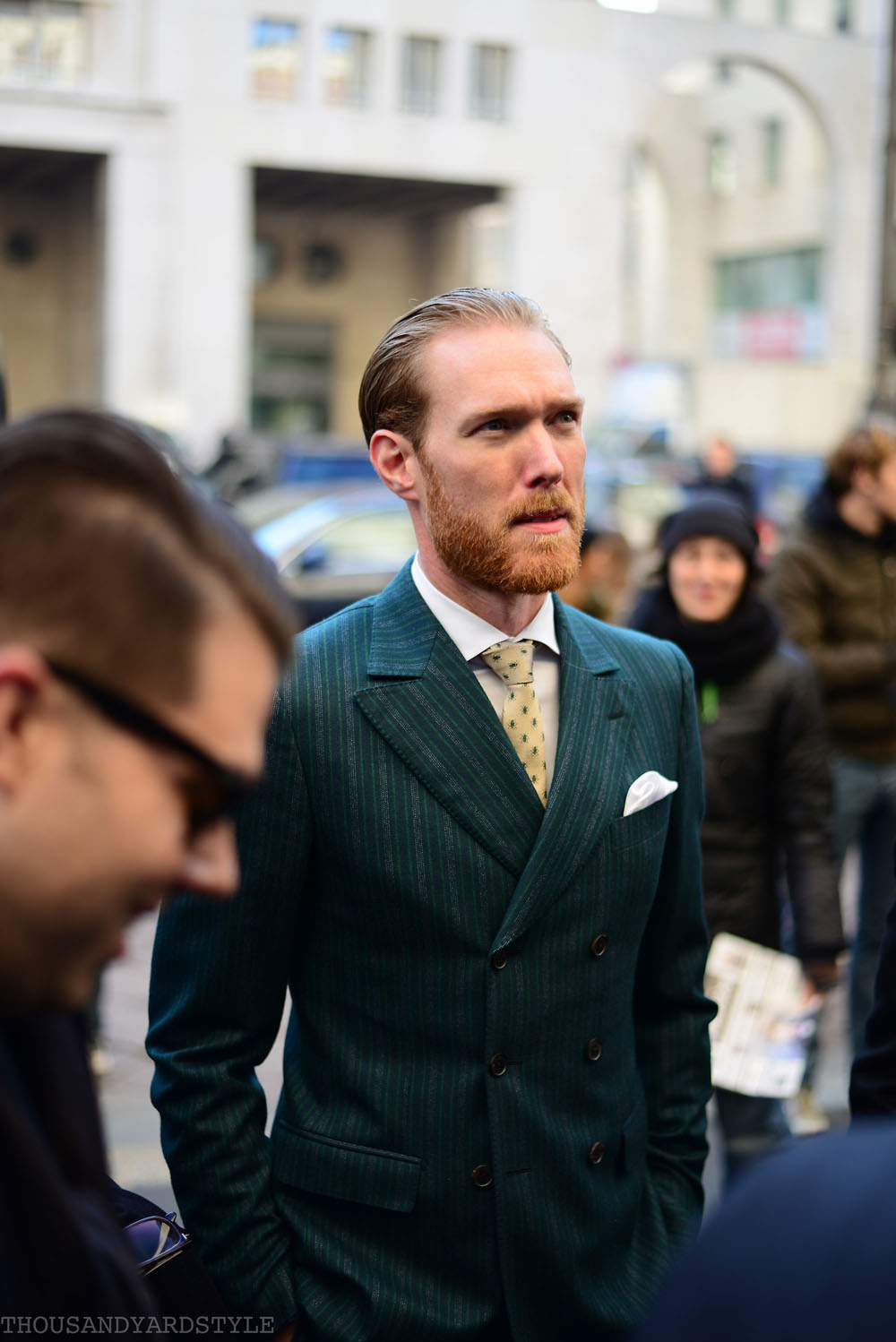 Bug Print Tie at MFW The Brits streetstyle