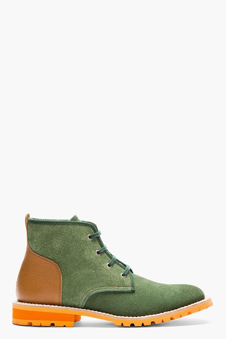 Green & Cognac Boots lace-up Junya Watanabe 1