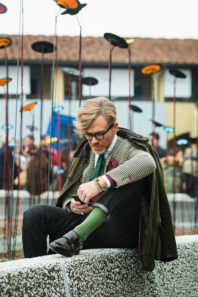 Green Houndstooth Socks Streetstyle