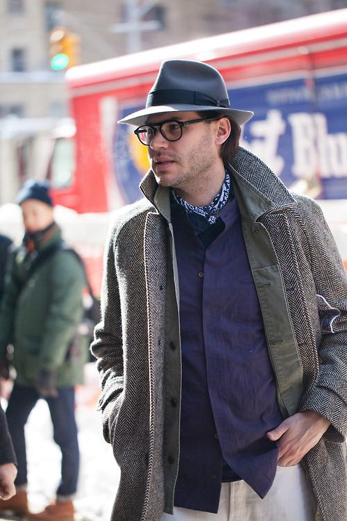 Justin Doss Herringbone Coat streetstyle