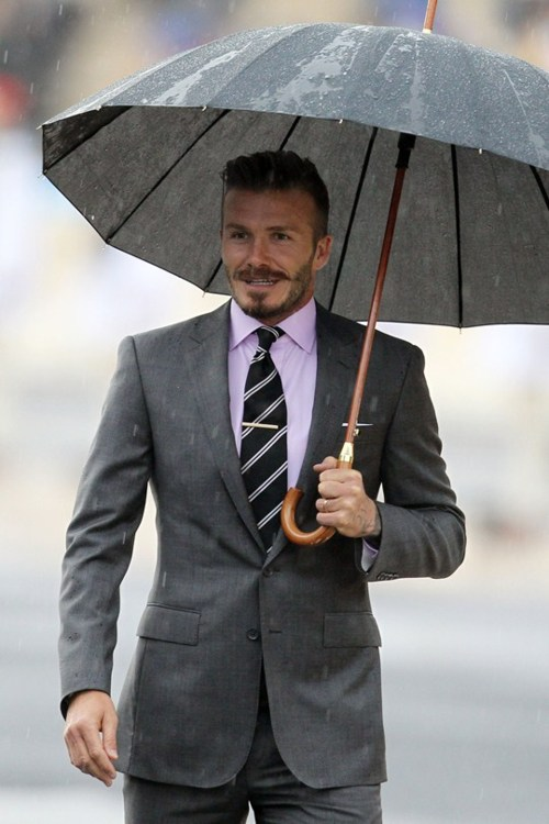 King Beckham Grey Suit Wooster Stache