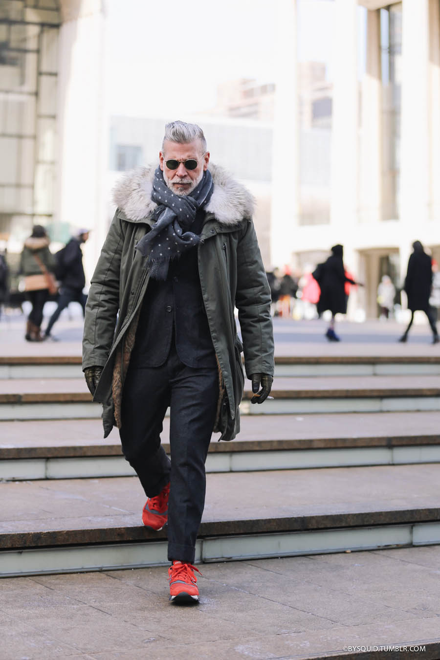 Nick Wooster Red Sneakers NYC Feb streetstyle