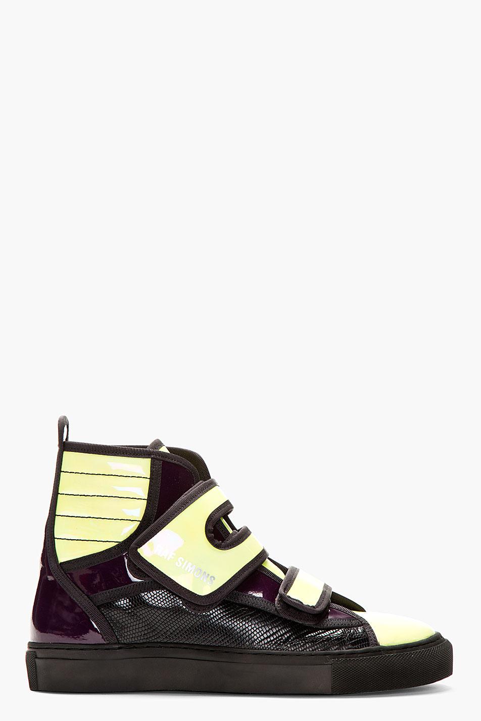 Purple & Green Velcro Sneakers raf simons