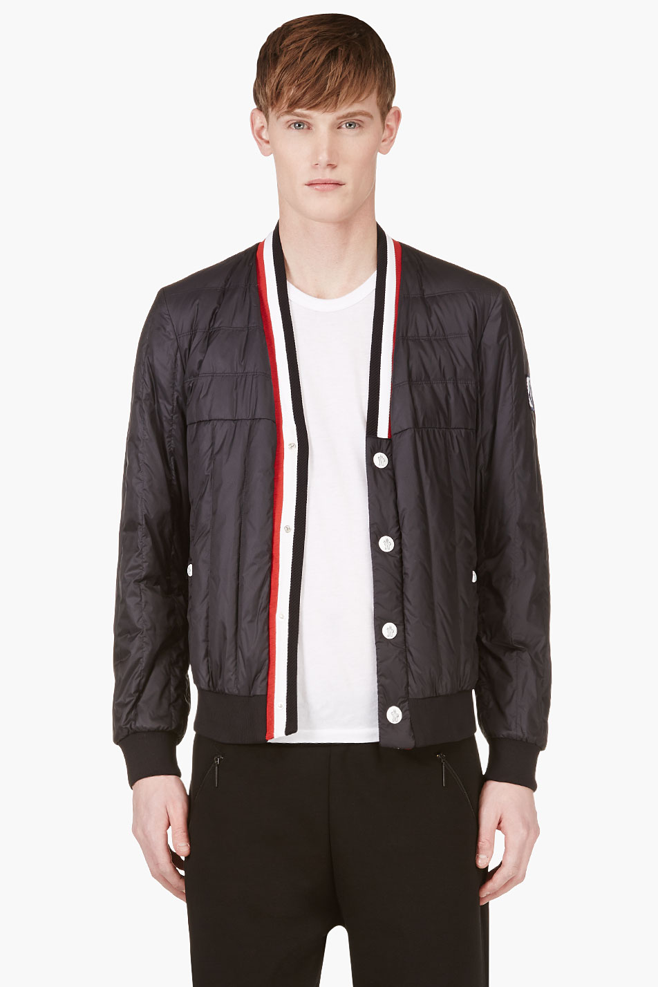 Quilted V-Neck Jacket tricolor luxury menswear 1