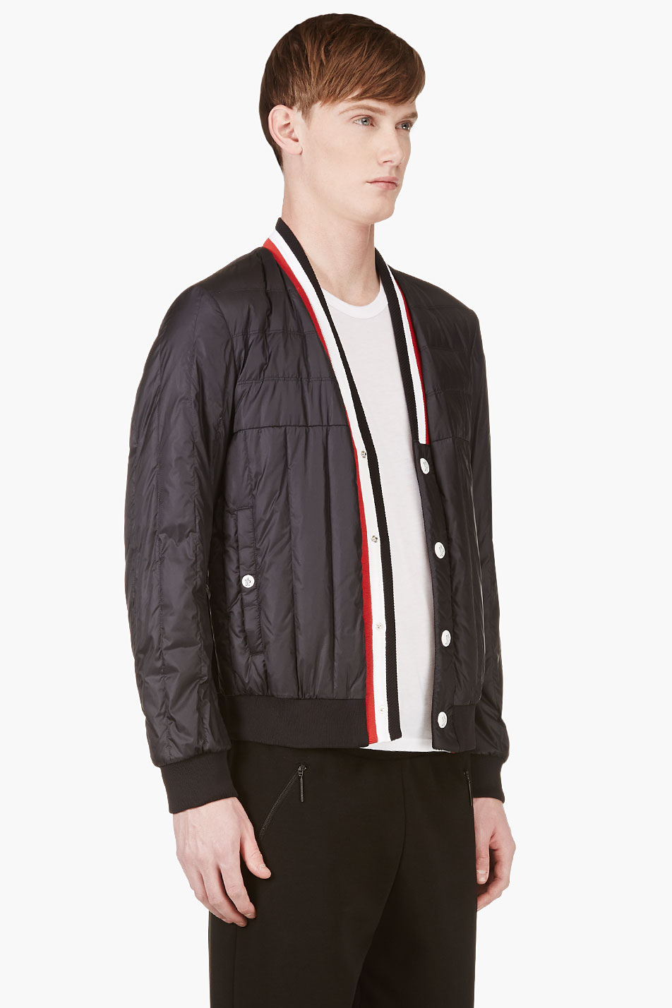 Quilted V-Neck Jacket tricolor luxury menswear 2