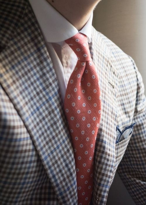 Red Dot Pattern Tie colorful gingham men's fashoin blog