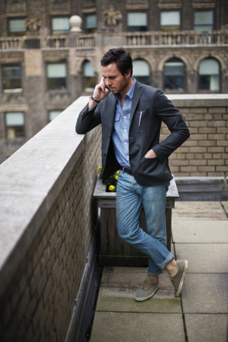Rooftop Phonecall denim shirt & jeans #streetstyle