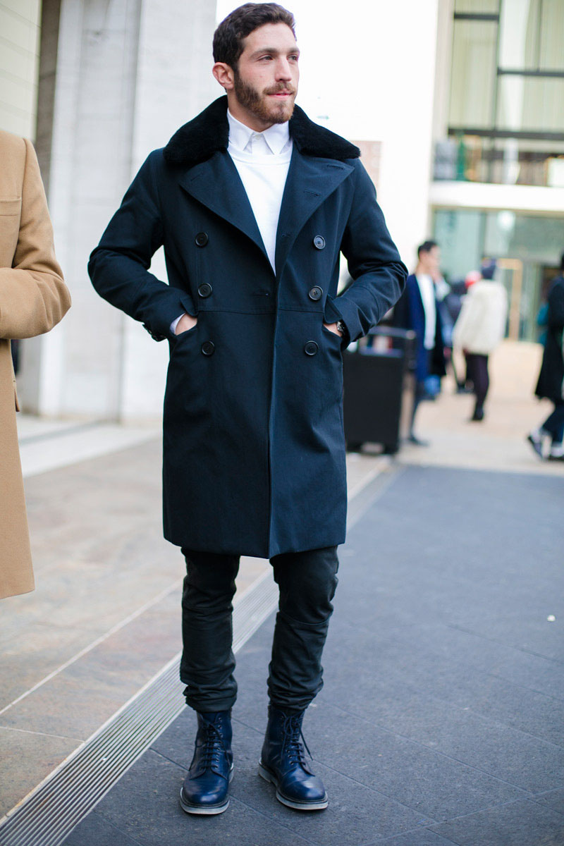 Dark Blue Double Breasted Trench Soletopia