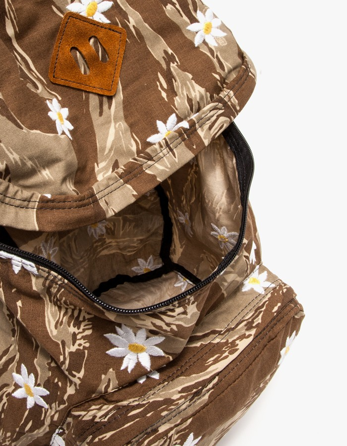 Embroidered Daisy Print, Tiger Camo Backpack