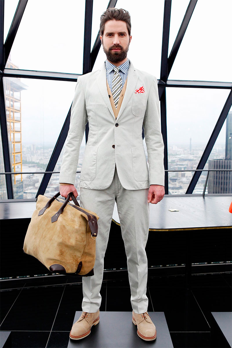 Hardy Amies SS14 casual beige suit, amazing pocket square