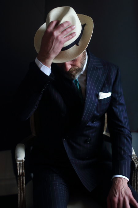 Hats Off db navy pinstripe suit