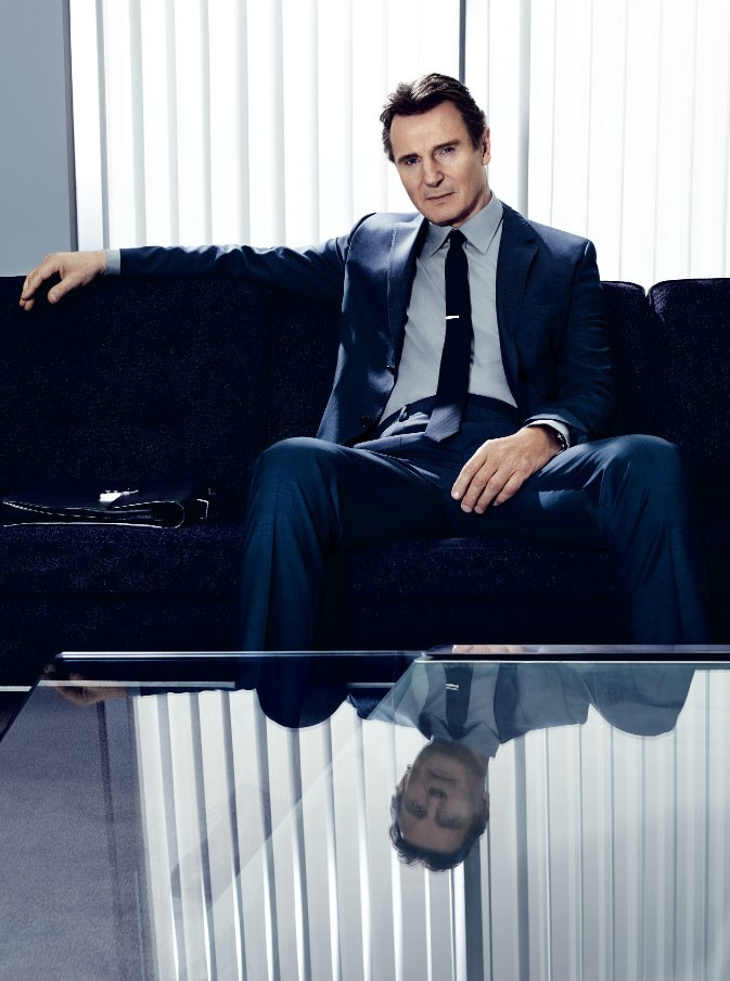 Liam Neeson for GQ in Silk Blue Suit