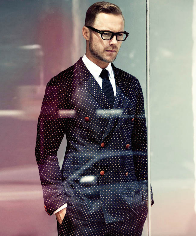 Micro Polka Dot Suit Blazer knitted tie & glasses #menswear