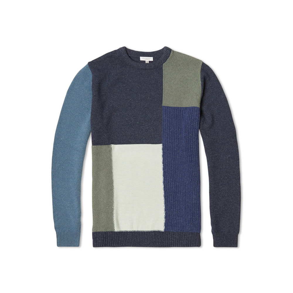 Navy Patchwork Knit Crew Neck, Beauty & Youth