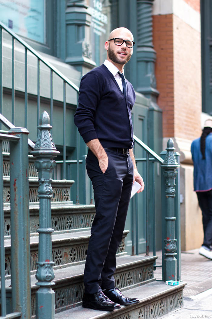 Navy V-Neck Cardigan formal streetwear and glasses