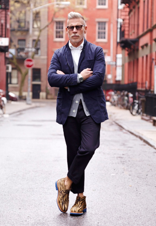 Nick Wooster × IL CORSO zebra shoes, arms crossed streetstyle