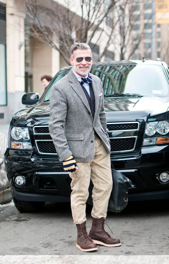 Nick Wooster Striped Gloves streetstyle herringbone blazer
