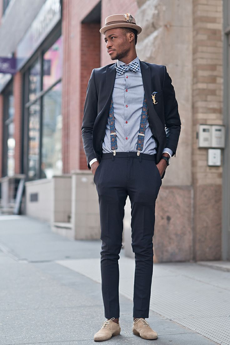 New York streetstyle with checked bow tie & floral suspenders