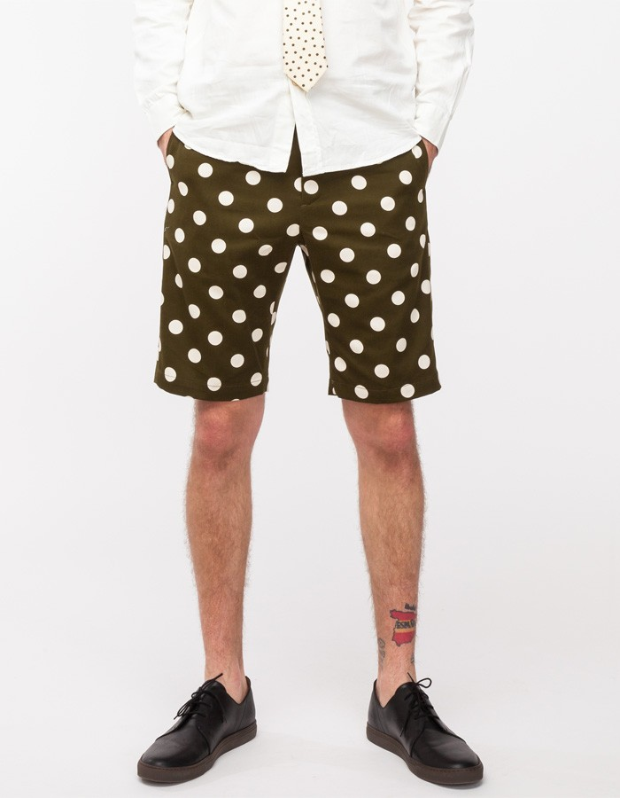 Olive Polka Dot Shorts | SOLETOPIA