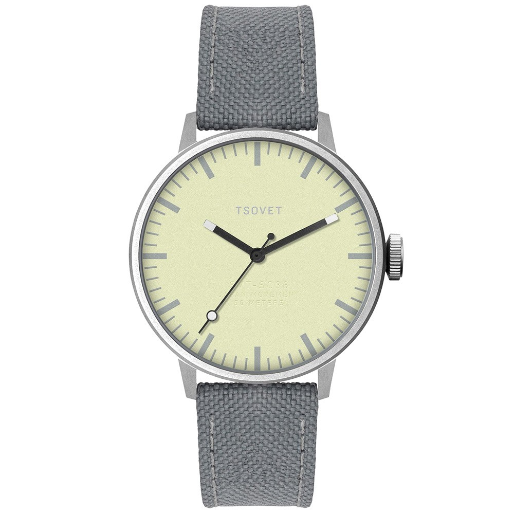 Silver, lime and grey Tsovet canvas strap watch