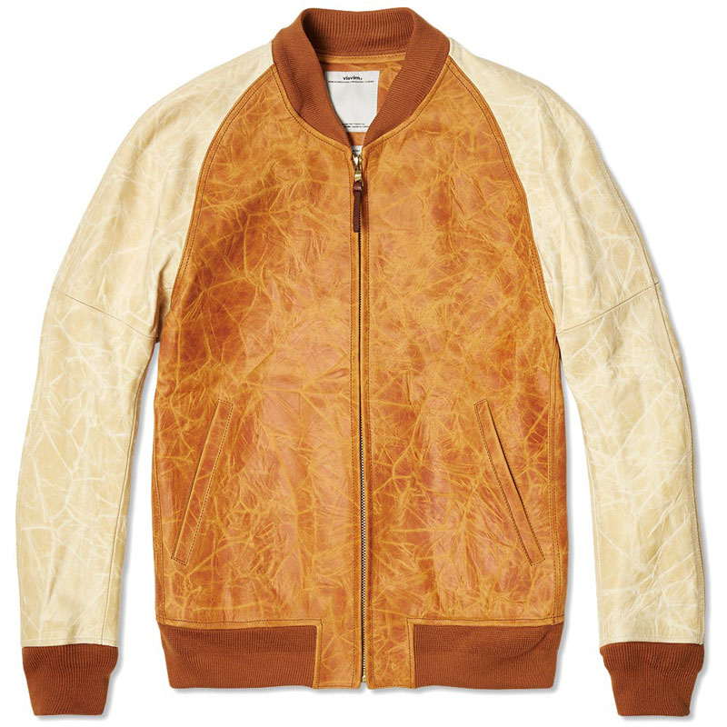 visvim Varsity Leather Jacket light brown men's fashion