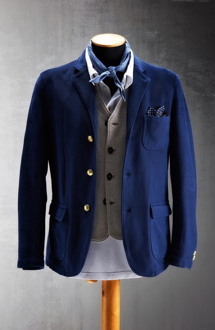 Deconstructed Blue Cotton Blazer 1st Pat-Rn SS13