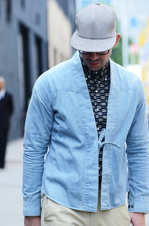 Denim Shawl Jacket tie-up kimono menstyle