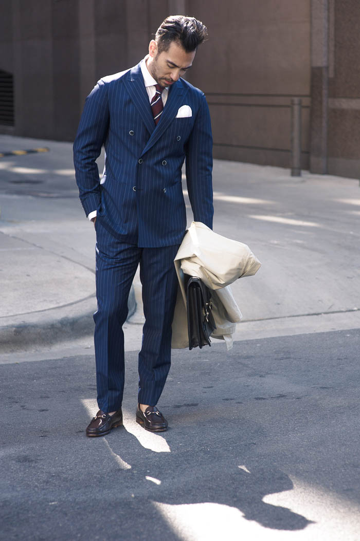 Double Breasted Pinstripe Suit | SOLETOPIA