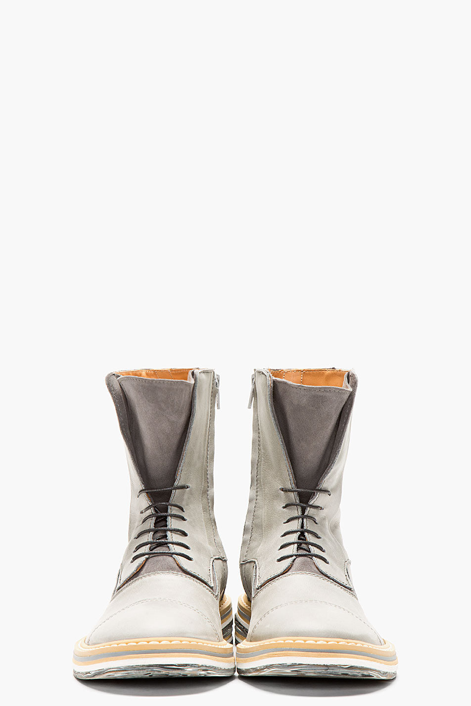 Grey Leather × Layered Sole Boots cap toe Maison Martin 2