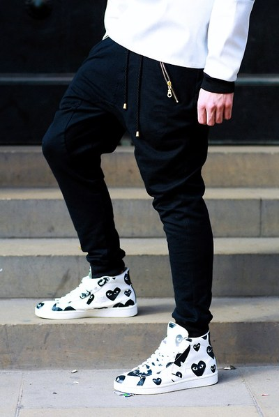 Low Crotch × CdG sneakers black hearts, street fashion