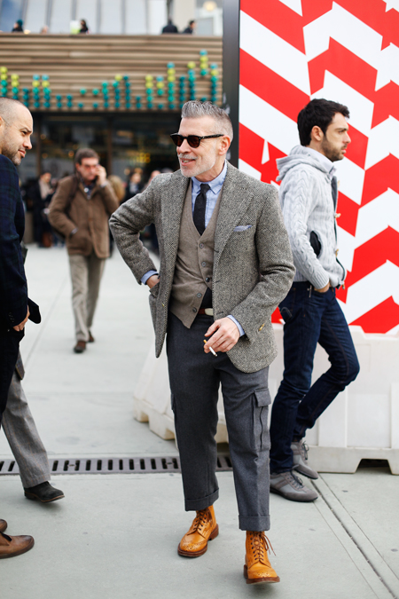 Nick Wooster Cigarette Laugh with tan boots