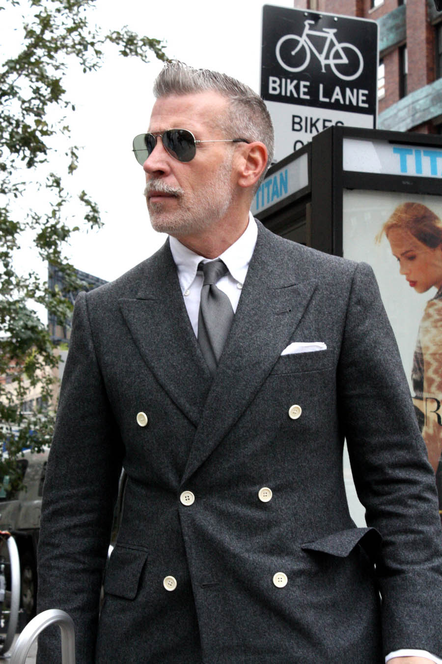 Nick Wooster Portrait grey jacket with contrast white buttons