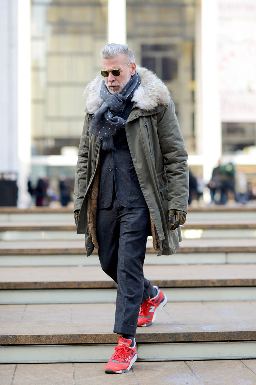Nick Wooster Stairwalker red new balance & fur coat
