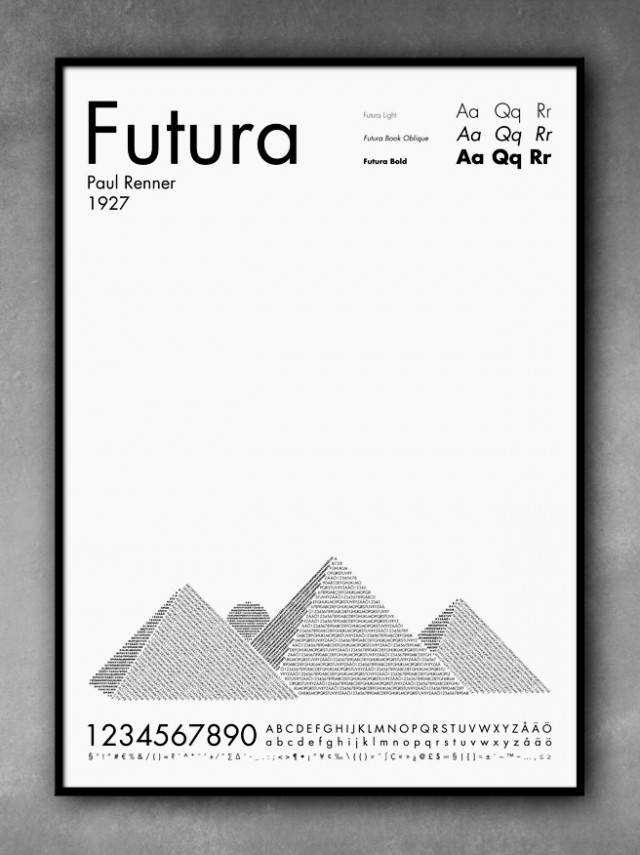 Typography Art, Futura pyraminds by POP