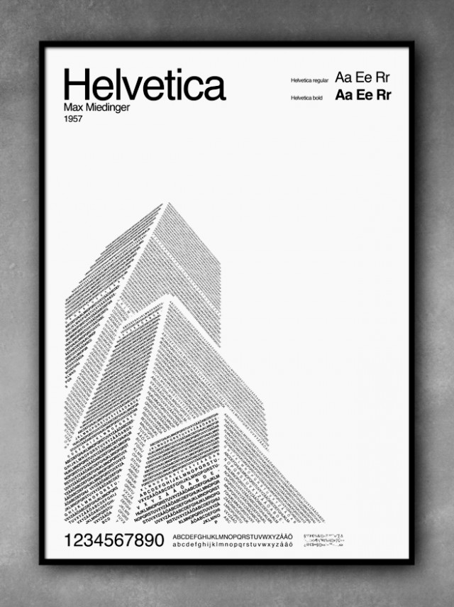 Typography Art, Helvetica city by POP