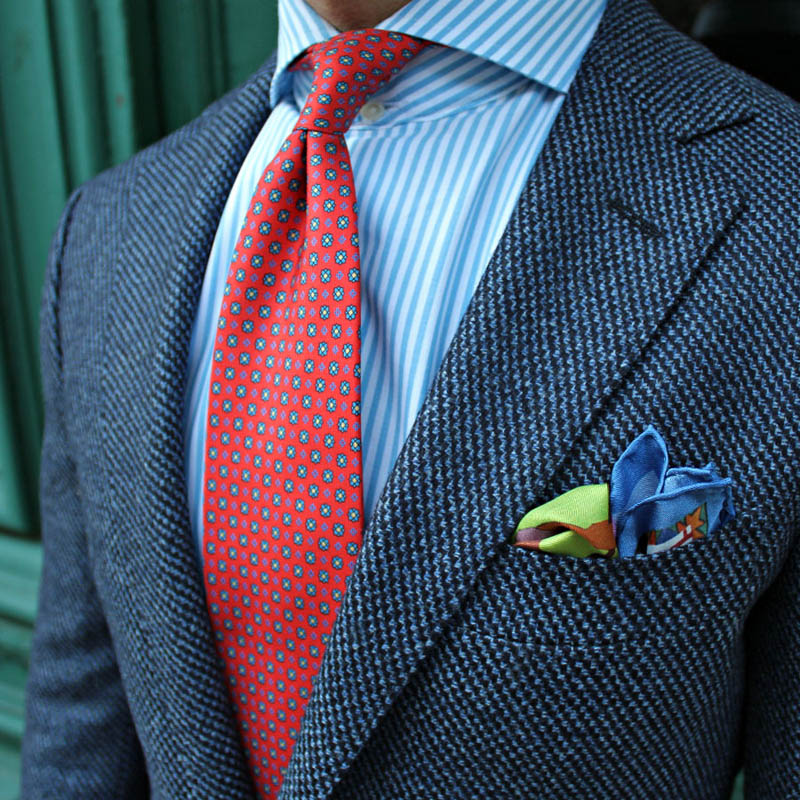 Vintage Pocket Square × Salmon Print Tie #menswear