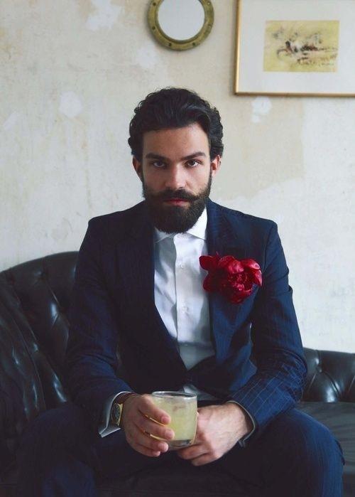 Whiskey Sour Navy Pin Stripe Suit, Pocket Flower
