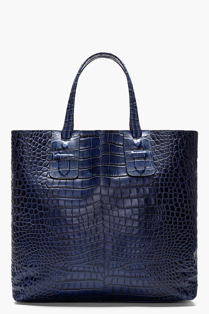 Blue Croc Embossed Tote, Neil Barrett