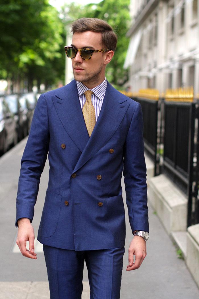 Blue DB Suit × Hermès Necktie in Yellow #streetfashion